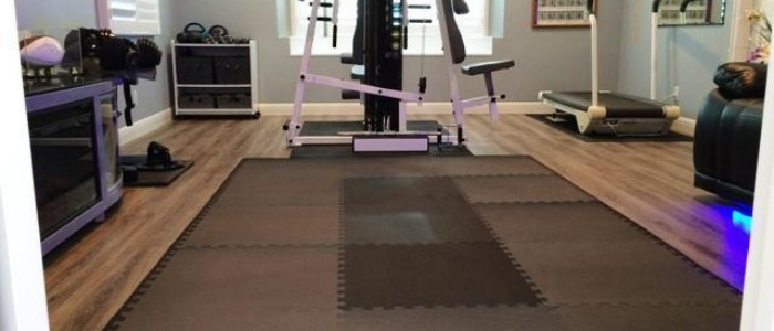 gym with carpet tile floor
